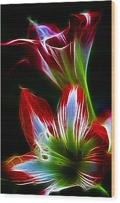 Flowers In Green And Red Wood Print