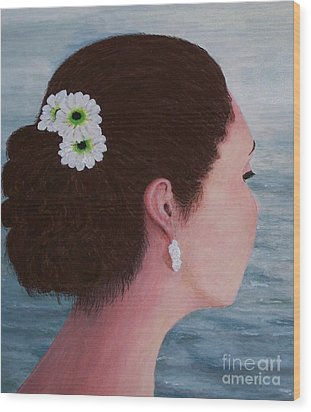 Flowers In Her Hair Wood Print by Judy Kirouac