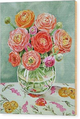 Flowers In The Glass Vase Wood Print by Irina Sztukowski