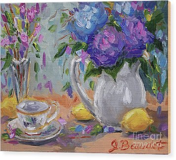 Wood Print featuring the painting Flowers Lemons by Jennifer Beaudet