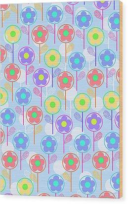 Flowers Wood Print by Louisa Knight