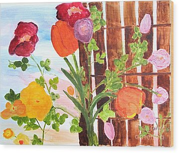 Wood Print featuring the painting Flowers On A Fence by Sandy McIntire
