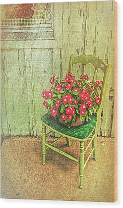 Wood Print featuring the photograph Flowers On Green Chair by Lewis Mann