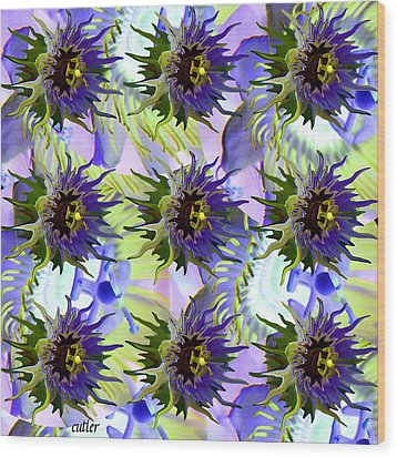Flowers On The Wall Wood Print by Betsy Knapp