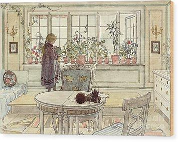Flowers On The Windowsill Wood Print by Carl Larsson