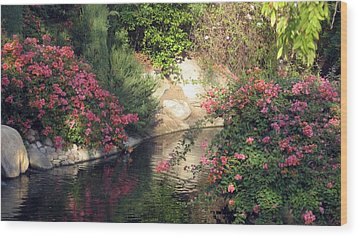 Wood Print featuring the photograph Flowers Over Pond by Amanda Eberly-Kudamik