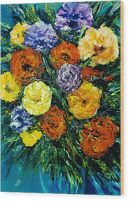 Flowers Painting #191 Wood Print by Donald k Hall