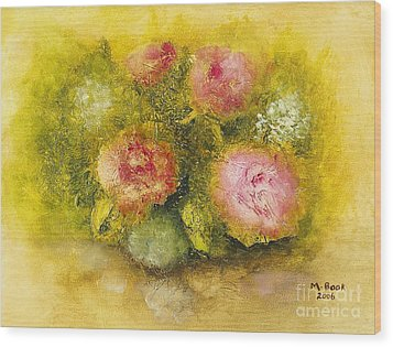 Wood Print featuring the painting Flowers Pink by Marlene Book