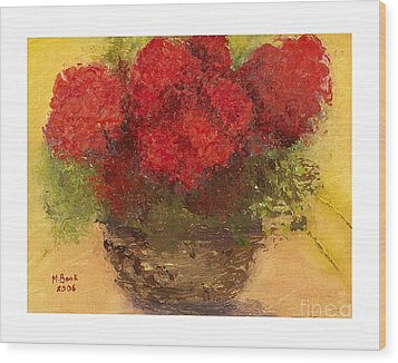 Flowers Red Wood Print by Marlene Book