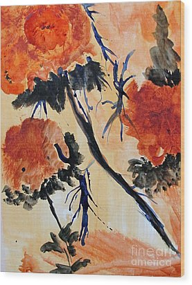Wood Print featuring the painting Flowers by Sandy McIntire