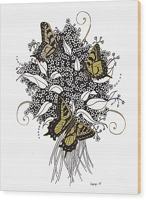 Wood Print featuring the drawing Flowers That Flutter by Stanza Widen
