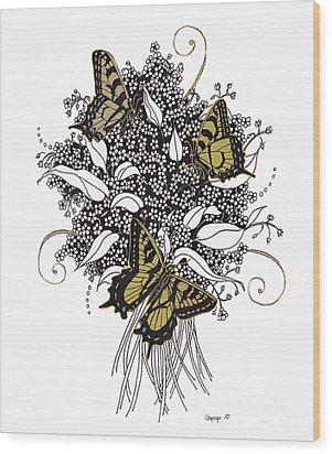 Flowers That Flutter Wood Print by Stanza Widen