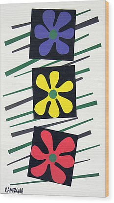 Flowers Three Wood Print by Teddy Campagna