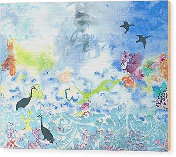 Flowers To Yemanja The Goddess Of The Ocean Wood Print by Gloria Von Sperling