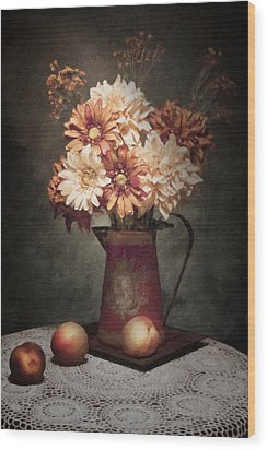 Flowers With Peaches Still Life Wood Print by Tom Mc Nemar