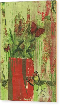 Wood Print featuring the mixed media Flowers,butteriflies, And Vase by P J Lewis