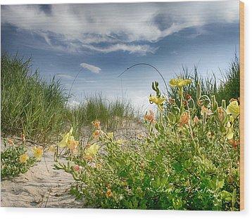 Flowery Dunes Wood Print