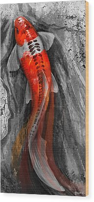 Flowing Koi Wood Print by Steve Goad