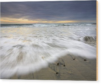 Flowing Stones Wood Print by Mike  Dawson