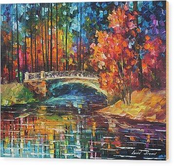 Flowing Under The Bridge  Wood Print by Leonid Afremov