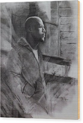 Wood Print featuring the drawing Reflections Of Floyd Mayweather by Noe Peralez