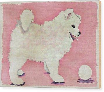 Fluffy Pup Wood Print by Phyllis Kaltenbach
