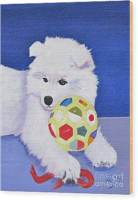 Fluffy's Portrait Wood Print by Phyllis Kaltenbach