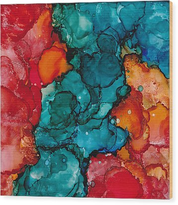 Wood Print featuring the painting Fluid Depths Alcohol Ink Abstract by Nikki Marie Smith