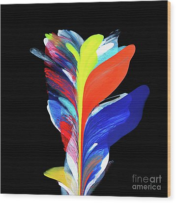 Fluidity Black #5 Wood Print