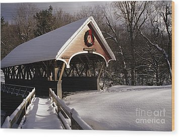 Flume Covered Bridge - Lincoln New Hampshire Usa Wood Print by Erin Paul Donovan