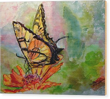 Flutterby - Watercolor Wood Print by Donna Hanna