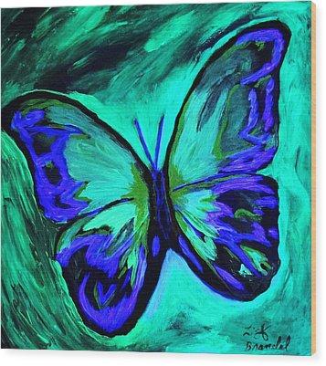 Flutterby Brings The Light Through Dark Wood Print