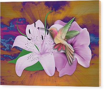 Wood Print featuring the mixed media Fluttering by Marvin Blaine