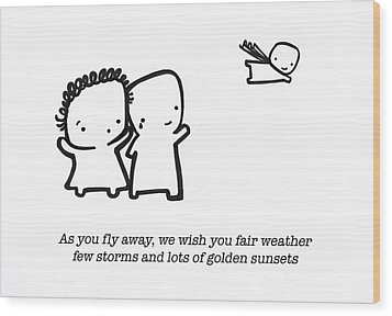 Wood Print featuring the drawing Fly Away by Leanne Wilkes