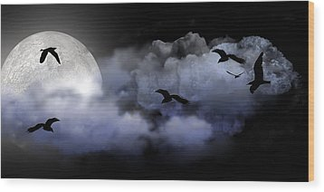 Fly By Night Wood Print by Evelyn Patrick