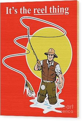Fly Fisherman  Wood Print by Aloysius Patrimonio