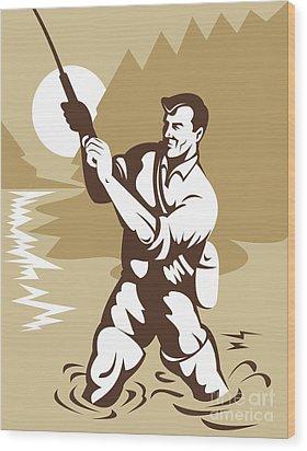 Fly Fisherman Casting Wood Print by Aloysius Patrimonio