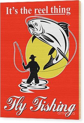 Fly Fisherman Catching Trout Wood Print by Aloysius Patrimonio