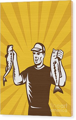 Fly Fisherman Holding Bass Fish Catch Wood Print by Aloysius Patrimonio