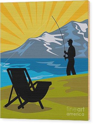 Fly Fishing Wood Print by Aloysius Patrimonio