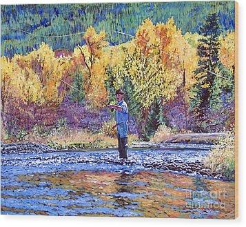 Fly Fishing Wood Print by David Lloyd Glover