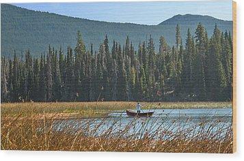 Fly Fishing Hosmer Lake Larry Darnell Wood Print by Larry Darnell
