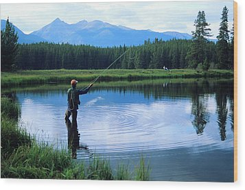 Fly Fishing In Rocky Mountain National Park Wood Print by Peter Skiba