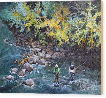 Fly Fishing Wood Print by Linda Shackelford