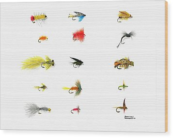 Fly Fishing Nymphs Wet And Dry Flies Wood Print by Sharon Blanchard