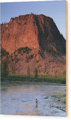 Fly Fishing On The Madison River Wood Print by Drew Rush