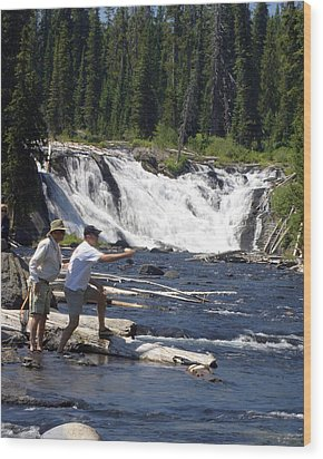 Fly Fishing The Lewis River Wood Print by Marty Koch