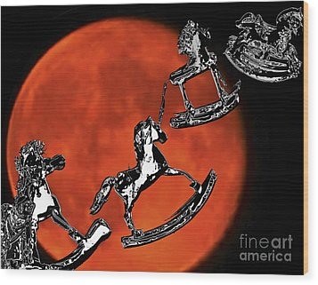 Fly Me To The Moon Wood Print by Carol F Austin