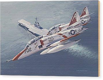 Fly Navy Wood Print
