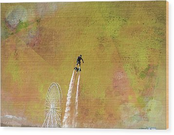 Flyboard, Sketchy And Painterly Wood Print